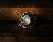 Irissa - Adjustable rainbow moonstone ring, Rainbow Moonstone ring, Silver moonstone ring, Antique Moonstone ring, Moonstone, Vintage Ring