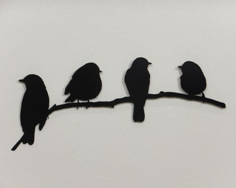Bird - Metal Wall Art - Silhouette - Birds on a Branch 2 - (DD10---)