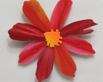 Flower #4 - Red Multilayer - Metal Wall Art - (BB1--c)