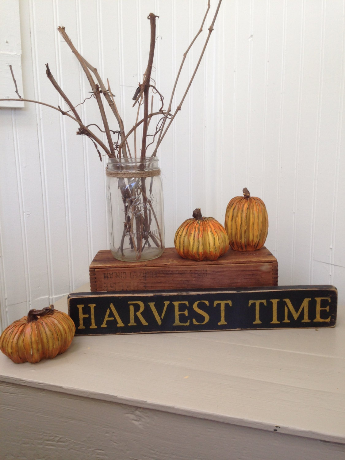 Harvest Sign On Barnwood For Fall Front Porch Decor: Wooden Harvest Time Sign Rustic Fall Decor