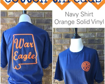 Comfort Colors Auburn War Eagle Monogrammed T-Shirt