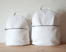 Women Purse, White Leather Backpack, Soft Leather Backpack, Leather Rucksack, Small Leather Backpack, School Backpack, Travel Backpack