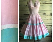 Vintage 80s pastel sun dress / halter neckline / full skirt / aqua, pink, mint // 139 - Allie //
