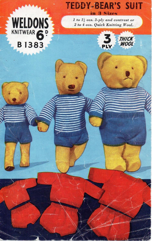 Knitting Pattern Clothes Teddy Bear : teddy bears clothes knitting pattern romper suit rompers