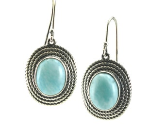 Stunning Larimar 8X10 Oval Drop Hook Earrings. .925 Sterling Silver