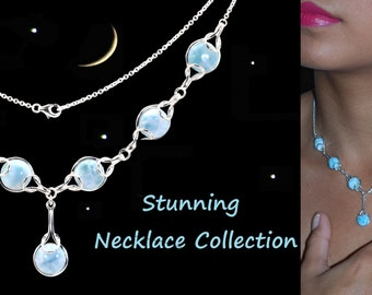 Stunning Larimar Earings Necklace Set .925 Sterling Silver (New Style)
