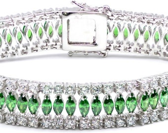 Stunning Emerald Marquises Bracelet 27gr.925 Sterling Silver. Available in 3 Colors