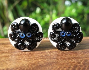 """Black Octopus on White Plugs Pyrex Glass One Pair - 00g 7/16"""" 1/2"""" 9/16"""" 5/8"""" 3/4"""" 1"""" 9.5 mm 10 mm 12 mm 14 mm 16 mm 18 mm 20 mm 25 mm"""
