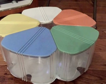 Vintage Lazy Susan Canister Set - Candy, Snacks, Fun Colors! Store Anything!
