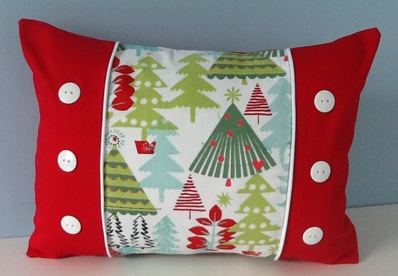 Christmas pillow cover red green handmade by