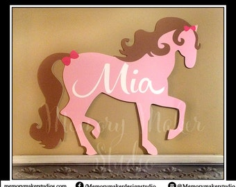 Personalized Horse Sign, Pony room decor, door hanger, Horse door decor, Pink Pony, Horse name sign, pony sign made out of lightweight PVC