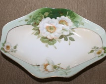 Vintage Prussia Royal Rudolstadt Candy Dish, Soap Dish, Germany, Home Decoration, Hand Painted, Flower Theme, Beautiful Serving Dish, NICE