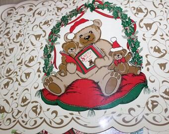 2 Vintage Holiday Season Vinyl Place Mats, Santa Clause, Teddy Bear Family, Santa Clause Book, Home Decoration, Collectibles, Good Shape