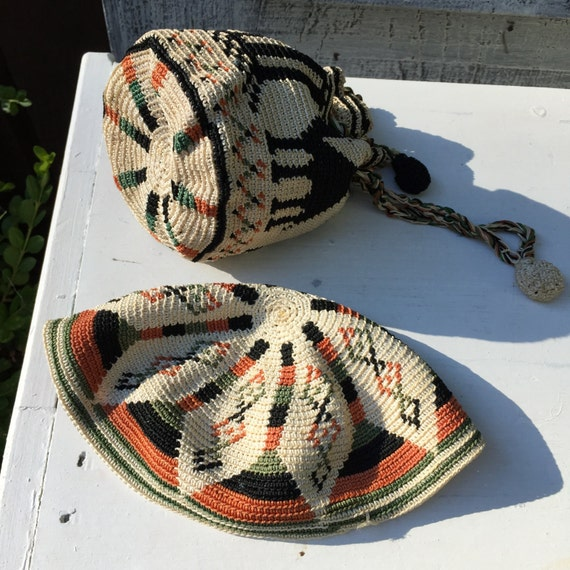 Tapestry Crochet Drawstring Bag Pattern : Tapestry Crochet Drawstring Bag and Cap Vintage Young Girl