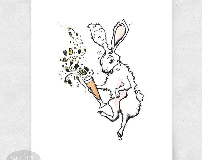 Featured listing image: Bunny Art Print, Wall Art, Bar Art, Brewery Art / 8x10 Print