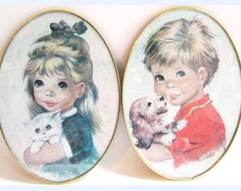 2x large vintage signed framed print big eye cute girl and boy.