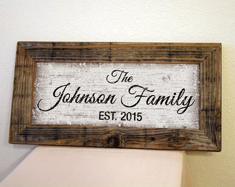 Personalized Family Name Sign. Custom Signs. Reclaimed Wood Frame. Established Family Sign. Rustic Signs. Custom Wedding Gift. 20x10