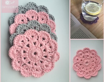 Crochet Coasters - Shabby Chic Crocheted Coasters - Set of 4 Cotton Crocheted Coasters - Grey/Pink