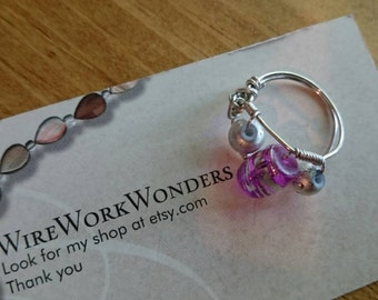 Handmade purple and silver wire wrapped ring