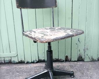 Vintage industrial metal factory chair