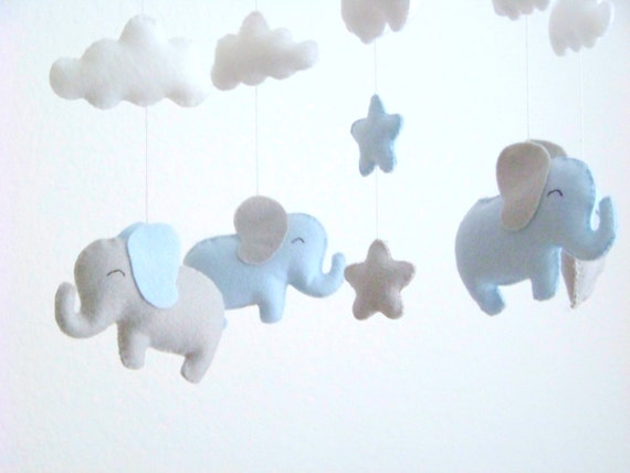 blue and gray elephant baby mobile elephant mobile baby. Black Bedroom Furniture Sets. Home Design Ideas