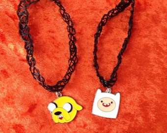 90s black henna tattoo choker with Adventure Time Jake the dog and Finn the human charm