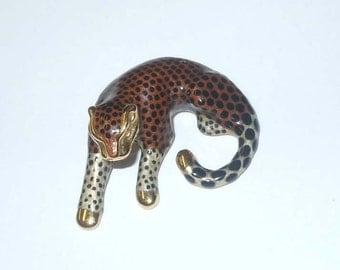Fabulous Vintage 14Kt Gold Enamel Leopard Print Slide Pendant Wild Cat