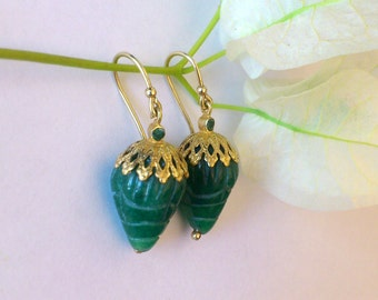 Gold emerald earrings 14k solid gold emerald earrings with carved emeralds,emerald dangle earrings.