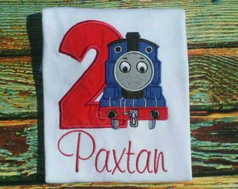 Thomas the Train Birthday Shirt Personalized any birthday Onesie with Optional shorts Outfit