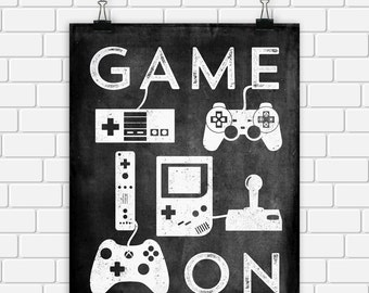 Video Game Printable Art Typography Game Controllers Black White Vintage Art Print, Wall Art Home Decor 8 x 10 Instant Download Digital File