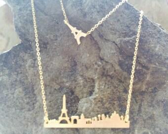 Paris Necklace, Eiffel Tower Necklace, Paris Skyline Necklace