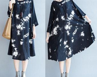 women round neck long sleeve cotton dress/