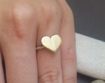 Brass Heart Ring, Sterling Silver Ring, Mixed Metal Heart Ring, Gift For Her, Heart Ring, Heart Jewelry, Gold Heart Ring, Anniversary Gift