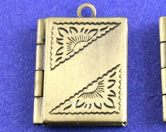 "2 pcs - Tiny Book Locket, 22mm x 16mm(7/8"" x 5/8"") Antiqued Brass Locket, Small Locket - AB-B45412-8S"