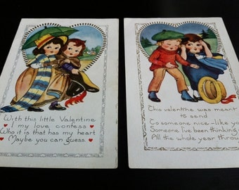 1920s Valentine Post Cards, Set of 2