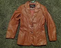 MOD squad brown WILSONS genuine leather hip length jacket coat vintage 70's WOMENS small