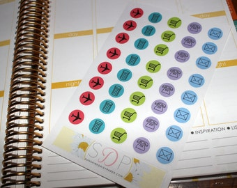 Everyday Circles- Planes, shopping, mail, phones, etc.  Set of 40 planner stickers! (065)