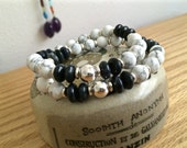 Cool In Contrast Gemstone Bracelet, Bohemian Chic Gemstone Bracelets, Beach Resort Style, Healing Gemstones, Designer Chic Bracelets