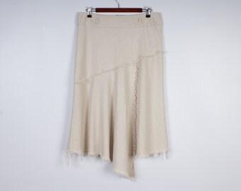 Beige Linen Blend Skirt Fringe Hippie Bohemian Patchwork Peasant Summer Wear Zip on back Size Medium