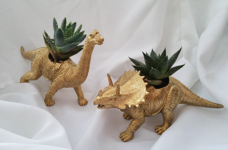 Gold Dinosaur Succulent Planter