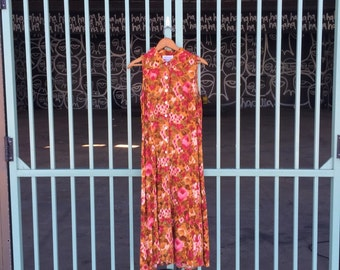 Women's Vintage Dress Floral Maxi Dress Sun Dress Size Medium