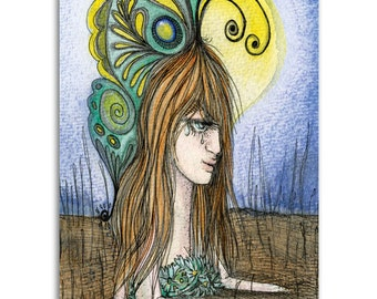 Poet Soul, Note Cards - Set of four 5x7 note cards - painting and poem by Claire