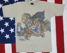 """Vintage 1990's Great Cats Endangered Species Graphic T-Shirt Medium """"Extinction is Forever"""""""