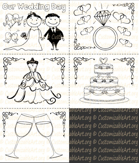 Wedding Coloring Book Kids Printable Activity Childrens Weddings Instant Download PDF Sale