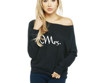 Mrs. sweatshirt. off shoulder sweatshirt. Wide Neck Fleece Sweatshirt made by ThinkElite1.