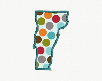State of Vermont Applique Machine Embroidery Design - 5 Sizes