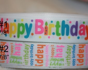 "7/8"" Happy Birthday grosgrain Ribbon   R236"
