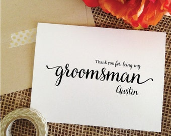 Personalized groomsman gift THANK YOU groomsman card gift for Groomsmen Gifts Thank you for being my groomsman Thank You Card (Lovely)