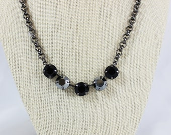 Chrome and Jet Black 11mm Swarovski Crystal Necklace