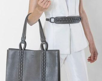 TATYZ textured-leather medium  tote (grey)